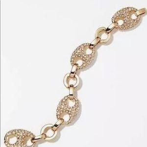 NWT Ann Taylor Large Pave Anchor Bracelet Gold